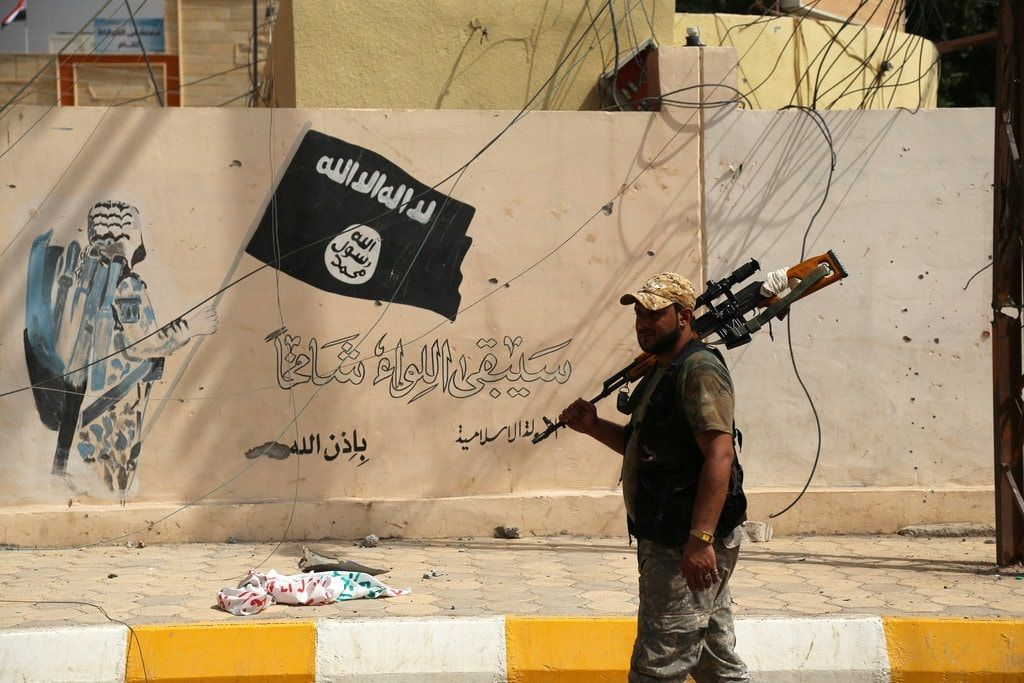 An Islamic State mural in Shirqat, Iraq, last month. Reuters