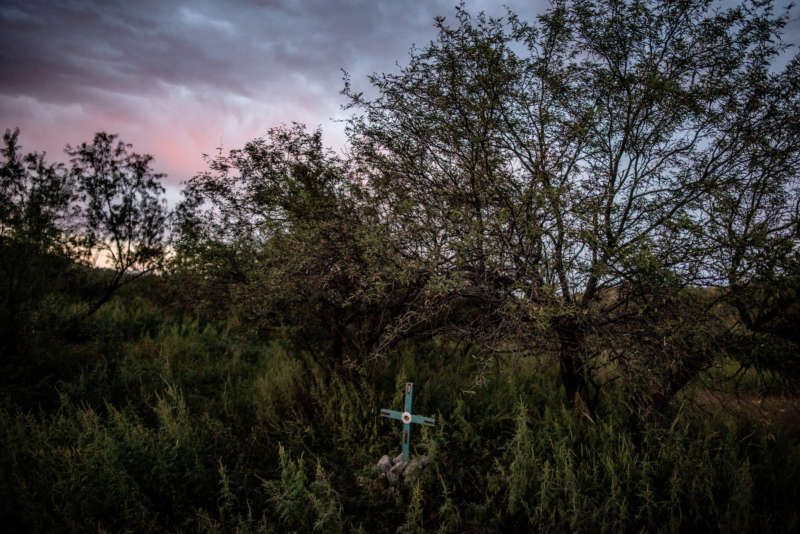 A memorial on a ranch near the border in Nogales, Arizona, for a person found dead there. Credit Tomas Munita for The New York Times