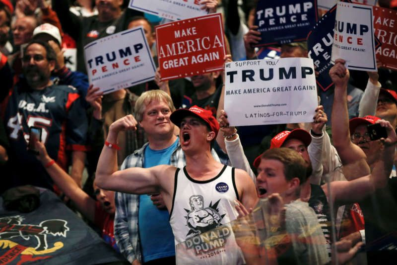Donald Trump supporters at a campaign rally, Wilkes-Barre, Pennsylvania, October 10, 2016