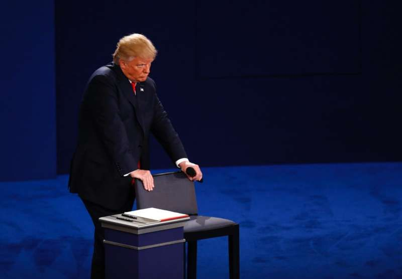 Donald Trump during the second presidential debate at Washington University in St. Louis, October 9, 2016. Andrew Harrer/Bloomberg/Getty Images