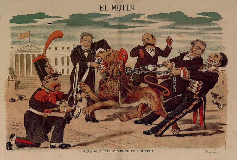 Caricatura de Eduardo Sojo en El Motín publicada el 16 de octubre de 1881. De izquierda a derecha: Becerra, Montero Ríos, Castelar, Cánovas y Sagasta.