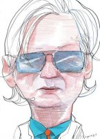 Julian Assange; drawing by John Springs