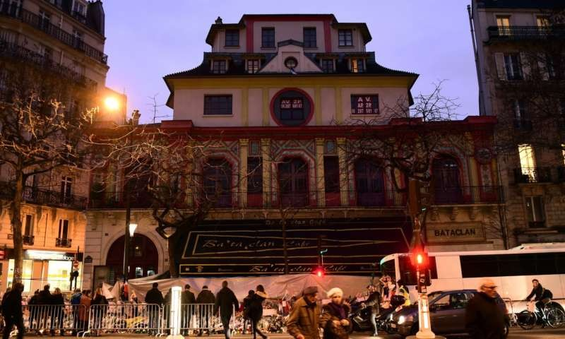 Floral tributes outside the Bataclan theatre: 'On 13 November 2015, Islamist terrorism struck France, in Saint-Denis and in Paris, in a way we had never been struck before.' Photograph: Adam Davy/PA
