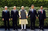 The leaders of Brazil, Russia, India, China and South Africa at the BRICS summit in Goa, India. Brazil's position is shaky. REUTERS/Danish Siddiqui