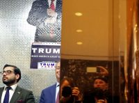 Nigel Farage, center, leader of the U.K. Independence Party, at Trump Tower in New York on Nov. 12. Yana Paskova/Getty Images