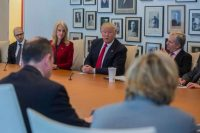 President-elect Donald J. Trump during a meeting at The New York Times's offices in Manhattan on Tuesday. Hiroko Masuike/The New York Times