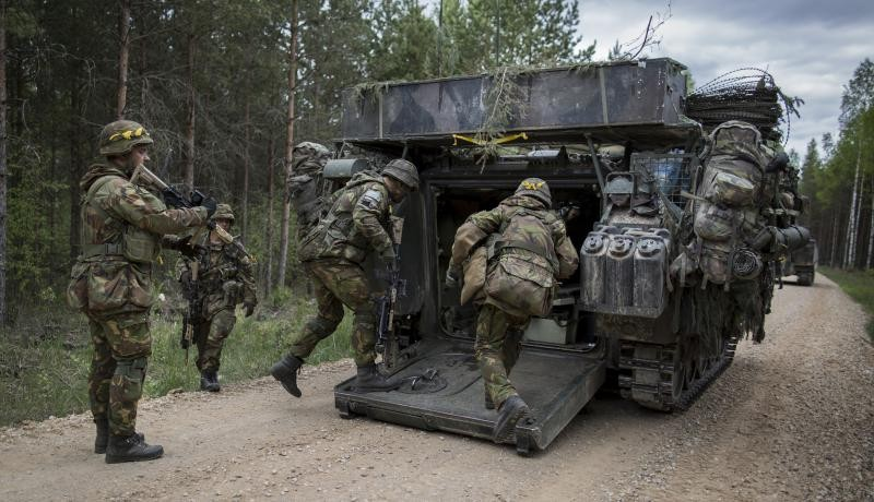 Dutch soldiers take part in a NATO troop exercise in Estonia. Photo via Getty Images.
