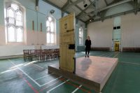 The artist Jean-Michel Pancin used the original door and floor measurements to replicate Oscar Wilde's cell in the chapel of Reading Prison in England. Justin Tallis/Agence-France Presse — Getty Images