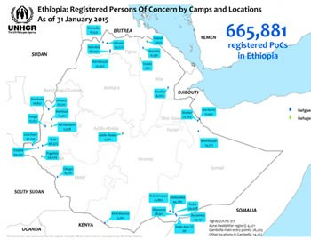 Map of Ethiopia showing location of refugee camps