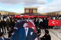 Outside the mausoleum of the founder of modern Turkey, Mustafa Kemal Ataturk, on the 78th anniversary of his death this month. Credit Adem Altan/Agence France-Presse — Getty Images
