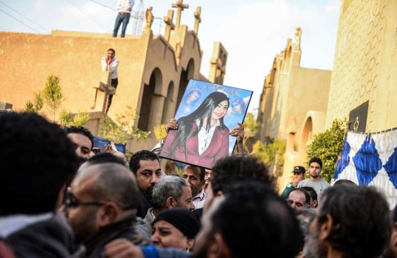 A picture of a cathedral complex bomb attack victim during her funeral procession in Cairo this month. Mohamed Hossam/European Pressphoto Agency