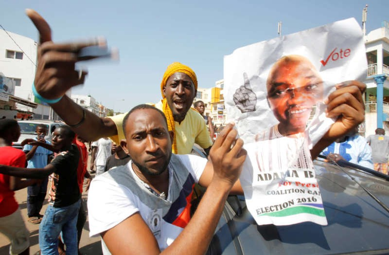 Supporters of Adama Barrow celebrate on the streets of Banjul. Thierry Gouegnon/Reuters