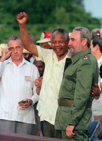 Nelson Mandela with Fidel Castro in Cuba in 1991. Castro was a figure of inspiration to apartheid opponents. Credit Omar Torres/Agence France-Presse — Getty Images