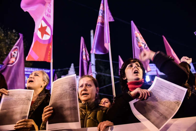 A demonstration in Istanbul last month against a proposed bill that would overturn convictions for sexual assault in Turkey. Yasin Akgul/Agence France-Presse — Getty Images