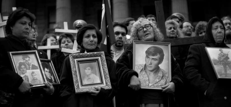 The author's photograph of a demonstration by Cypriot refugees in Melbourne, Australia in 1995. Ashley Gilbertson/VII