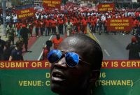 An anti-government march in Pretoria, South Africa, last month. Themba Hadebe/Associated Press