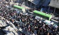'New levels of helplessness have developed over these last few terrible days.' Civilians are evacuated by bus from Aleppo this week. Photograph: Zouhir Al Shimale/Barcroft Image