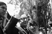 President-elect Salvador Allende, of Chile, arriving to pay respects to Gen. René Schneider, who was lying in state, killed by a commando. Robert Quiroga/Associated Press