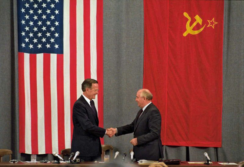 George H. W. Bush and Mikhail Gorbachev in Moscow, July 1991. Rick Wilking/Reuters