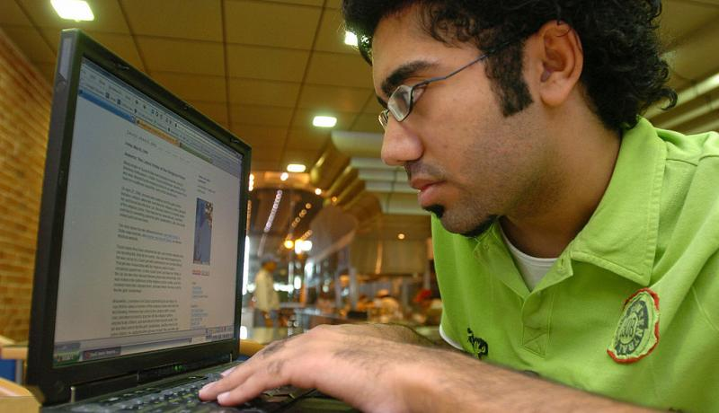 A Saudi university student on his laptop. Photo by FAHD SHADEED/AFP/Getty Images.