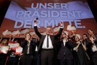 Alexander Van der Bellen celebrated with his supporters in Vienna on Sunday. Credit Matthias Schrader/Associated Press