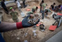 Bones exhumed last month from a mass grave in Porreres, Spain, of people executed during the Spanish Civil War. Jaime Reina/Agence France-Presse — Getty Images