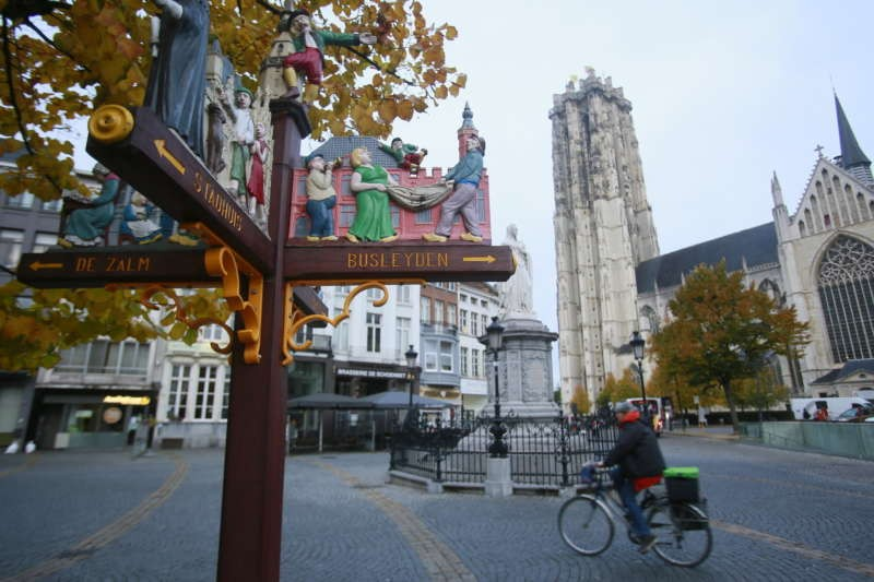 Mechelen town center, near the Gross Markt, with Sint Rombouts Kathedraal in the background. Owen Franken for The New York Times