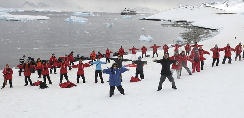 China's southern presence is much stronger. Here, participants break the world record for shadow boxing in Antarctica. China Daily China Daily Information Corp/Reuters