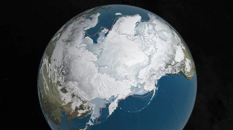 Arctic sea ice is at a record low. NASA/Reuters