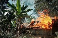 Bamboo huts in flames in Ben Suc, a Viet Cong-controlled village, in January 1967. Bettmann, via Getty Images