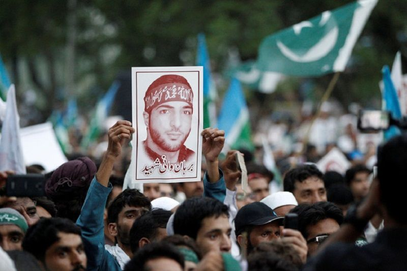 A picture of Burhan Wani held up during a rally in Islamabad, Pakistan July 24, 2016. Caren Firouz/Reuters