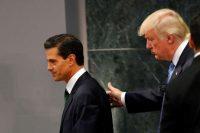 Donald Trump, cuando era el candidato presidencial republicano, junto a Enrique Peña Nieto luego de su intervención pública en Los Pinos, la residencia oficial del presidente de México, el 31 de agosto de 2016. Dario Lopez-Mills/Associated Press