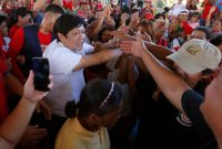 """Ferdinand Marcos Jr., also known as """"Bongbong,""""campaigning in Muntinlupa, Philippines, in February. Bullit Marquez/Associated Press"""