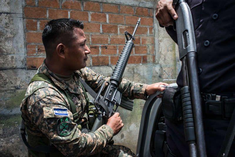 A soldier in San José Guayabal, El Salvador, August 21, 2016. Monique Jaques