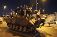 A tank taken over by civilians in Istanbul, July 15 2016. EPA