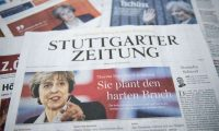 A selection of German front pages feature images and stories on Theresa May's Brexit speech. Photograph: Steffi Loos/Getty Images