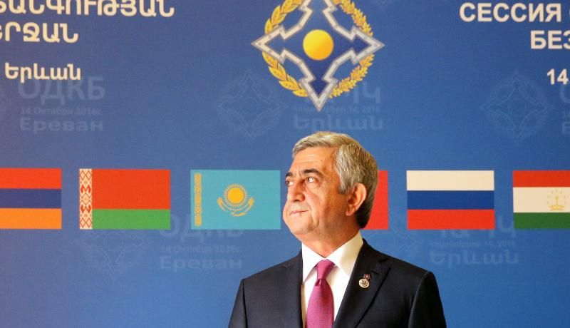 Armenia's President Serzh Sargsyan at a CSTO meeting in October 2016. Photo via Getty Images.