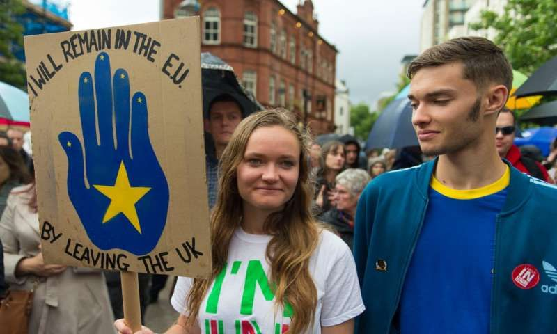 Anti-Brexit protesters in Cardiff. Photograph: Matthew Horwood/Getty Images