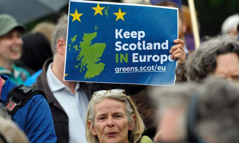 Pro-EU campaigners outside the Scottish parliament in Edinburgh. Photograph: Andy Buchanan/AFP/Getty Images