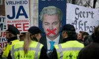 Freedom Party leader Geert Wilders portrayed himself to Dutch voters as a champion of liberty after his conviction for hate speech Photograph: Peter Dejong/AP