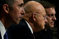 US Defense Under Secretary for Intelligence Marcel Lettre, Director of National Intelligence James Clapper, and National Security Agency Director Michael Rogers testifying before the Senate, Washington, D.C., January 5, 2017. Jonathan Ernst/Reuters