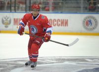 President Putin playing ice hockey. Kremlin Press Office
