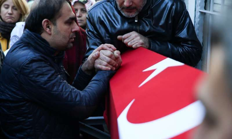 The funeral of an Istanbul nightclub attack victim. Photograph: Anadolu Agency/Getty Images