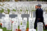President Obama visited Section 60 of Arlington National Cemetery on Veterans Day in 2009. Section 60 is where many American soldiers killed in Afghanistan and Iraq are buried. Credit Luke Sharrett/The New York Times