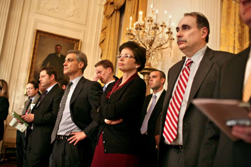 Rahm Emanuel, third from right, Mr. Obama's first chief of staff, and other top aides mapped out an ambitious two-year agenda that included a health care overhaul, new banking laws and a remake of the federal student loan program. Credit Todd Heisler/The New York Times