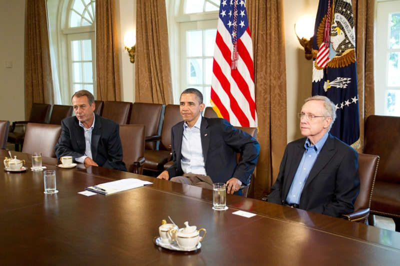 Mr. Obama with the House speaker, John A. Boehner, left, and the Senate majority leader, Harry Reid, at the White House in July 2011. The three discussed raising the debt ceiling, an issue that almost led to a government shutdown. Credit Philip Scott Andrews/The New York Times