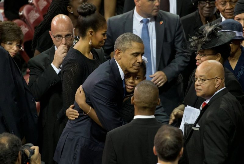 Mr. Obama embraced Eliana Pinckney at a memorial service for her father, the Rev. Clementa C. Pinckney, in Charleston, S.C., in June 2015. Credit Stephen Crowley/The New York Times