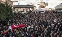 The funeral of Yunus Gormek, one of the victims of the Reina nightclub attack. Photograph: IBL/REX/Shutterstock