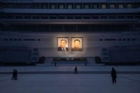 The portraits of late North Korean leaders Kim Il-sung and Kim Jong-il in Pyongyang. Credit Ed Jones/Agence France-Presse — Getty Images