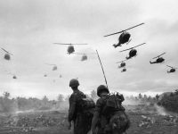 American soldiers watching helicopters landing as part of Operation Pershing in South Vietnam in 1967. Credit Patrick Christain/Getty Images